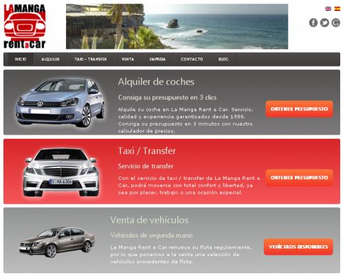 Captura de pantalla de la web de La Manga Rent a Car